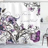 Ambesonne Hummingbird Shower Curtain, Flowers Leaves Bird and Classic Patterns Curvy Lines Ornament Nostalgic Art, Cloth Fabric Bathroom Decor Set with Hooks, 75' Long, Purple Black