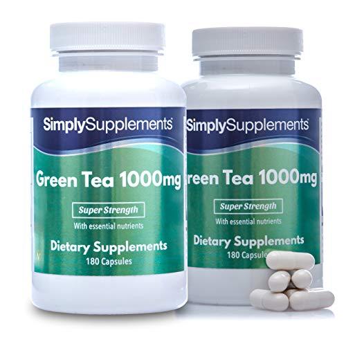 Té verde 1000 mg - ¡Bote para 4 meses! - Apto para veganos - 360 Cápsulas - SimplySupplements