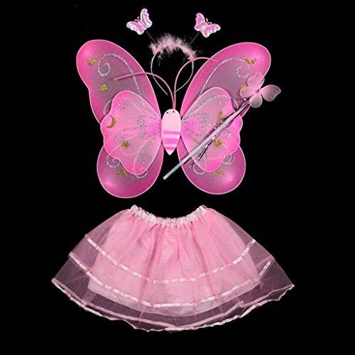 HuntGold bébé fille Fée Ange Stage Costume Photo Aile de papillon + Baguette + bandeau + Robe Ensemble (Rose)
