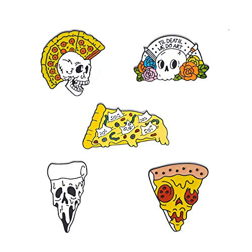 KOOBOOK 5Pcs Funny Punk Pizza Skull Ghost Skeleton Enamel Lapel Pin Flower Skeleton Brooch Collar Lapel Breastpin Corsage Badge