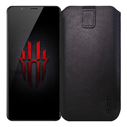 Slabo Schutzhülle für ZTE Nubia Red Magic Schutztasche Handyhülle Hülle mit Magnetverschluss aus Kunstleder - SCHWARZ | Black