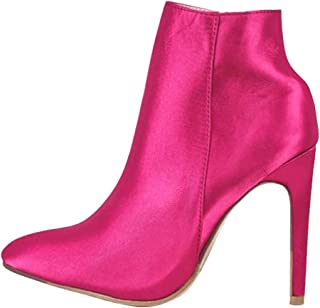 Opinionated Women's Pointed Toe Zip Stiletto Kitten Heel Ankle Booties Leather Ankle Boots Thin Heels Pointy Toe Zipper Daily Wear Booties