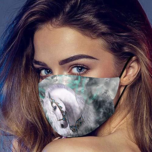 Dwevkeful Mundschutz mit Pferdedruck Bunt Waschbar Wiederverwendbar Bandana Maske Atmungsaktiv Staubschutz Multifunktionstuch Halstuch Schals für Männer und Frauen
