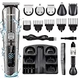 2020 Cordless Beard Trimmer for Men,Dlamer Hair Clipper for Men with 11 in 1 Mustache Trimmer, LED Display, IPX Waterproof, Nose & Ear Hair Trimmers, Best Electric Beard Trimmer Gift for Men