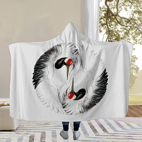 YUNSW 3D Chinese Animal Crane Series Hat Blanket, Super Soft And Comfortable Arctic Velvet Sofa Blanket, Portable Living Room Blanket For All Seasons