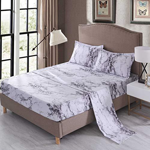 Jiaban, set di copriletto semplice con fantasia, lenzuola, federa, materasso, biancheria da letto morbida e confortevole (singolo, matrimoniale)