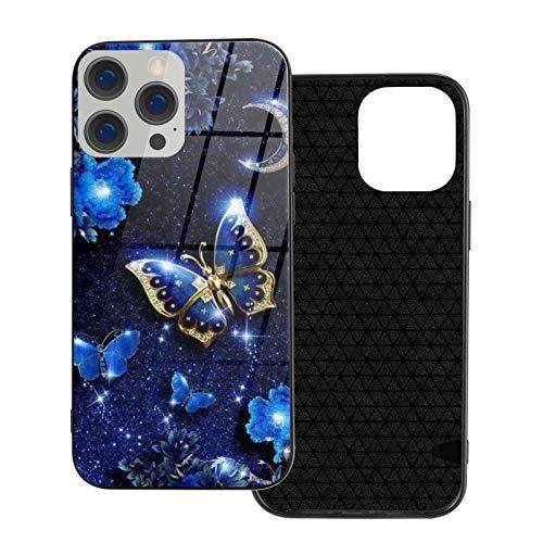 Moda compatible con iPhone 12 Series 2020 funda azul cielo flor luna mariposa para iPhone 12 6.1 pulgadas