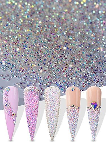 Warmfits 15000pcs 1.2mm Ultra Mini Cristales Perlas de Cristal Arena Uñas Micro Perlas Diamante Polvo Iridiscente Cristal AB Brillo Colorido Para Uñas Arte 3D Decoración DIY Artesanía