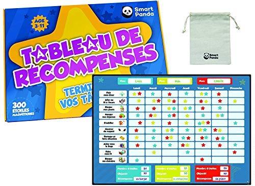 Smart Panda Tableau de Récompenses pour Enfants – Tableau Magnétique pour Inspirer Un Bon Comportement – Parfait pour Les Tout-Petits, Garçons et Filles – avec 20 Tâches et 300 Etoiles – en Français