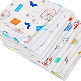 Littleduck 12Pack Baby Muslin Squares 30X30CM 100% Cotton 2 Layler Natural Newborn Towels Soft Breathable Kids Face Wash Cloth with Printed Design