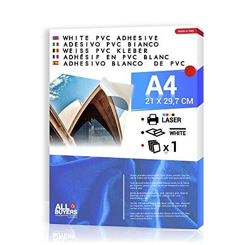 Carta Adesiva Bianca PVC polipropilene A4 Fogli in vinile 1-5-10-15-20-25 per stampanti laser (1)