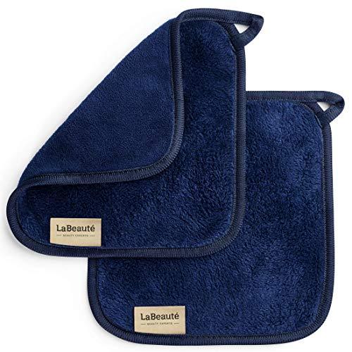 LaBeauté Toalla desmaquillante cara 2 unidades - Limpieza facial y desmaquillante facial - Toalla microfibra lavable y reutilizable - 21x21cm - Azul marino