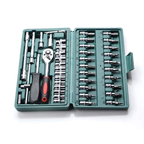 46Pcs Carbon Steel Wrench Dopsleutel Schroevendraaier Combinatie Tool Set Silver Green Box