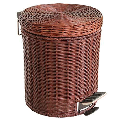 lqgpsx Bamboo Vine Pedal Trash Can, With Lid Wastebasket Hand Made Garbage Basket In-band Barrel Container Suitable for Bedroom Living Room Kitchen -5L-brown