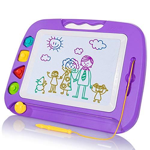 SGILE Pizarra Magnética Infantil, 42x32cm Grande Magnético Pintura de la Escritura Doodle Sketch Pad, Juguetes para Niños Infantiles, Morado