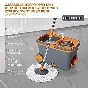 Casabella Spin Cycle Mop with Bucket – Graphite/Orange