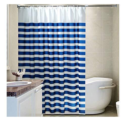 Daesar Polyester-Stoff Duschvorhang Antischimmel Blau und Weiß Streifen Wasserdicht Duschvorhang 240x200 cm