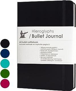 Hieroglyphs Bullet Journal/notitieboek A5 dotted - met Nederlandstalige methode - genummerde pagina's, opbergvak, drie lee...
