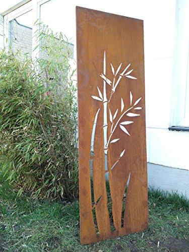 Zen Man Garten Sichtschutz aus Metall Rost Gartenzaun Gartendeko edelrost Sichtschutzwand 031344-2 150 * 50 * 2cm
