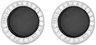 925 Sterling Silver Round Halo Cubic Zirconia Flat Black Onyx Studs Earrings