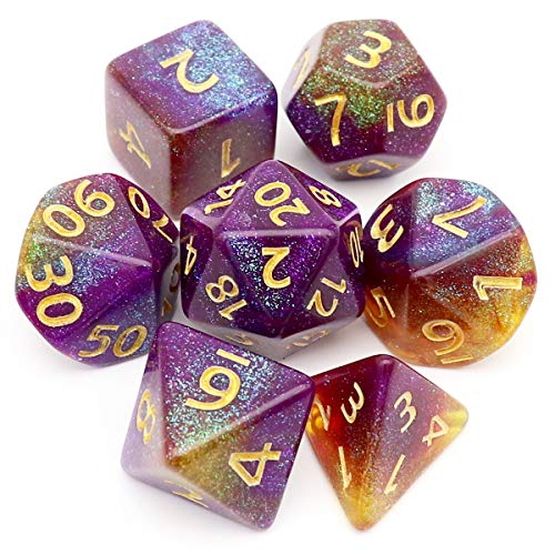 Haxtec DND Dice Set 7PCS Purple Iridescent Glitter Polyhedral D&D Dice for Roleplaying Dungeons and Dragons-Polar Sunset