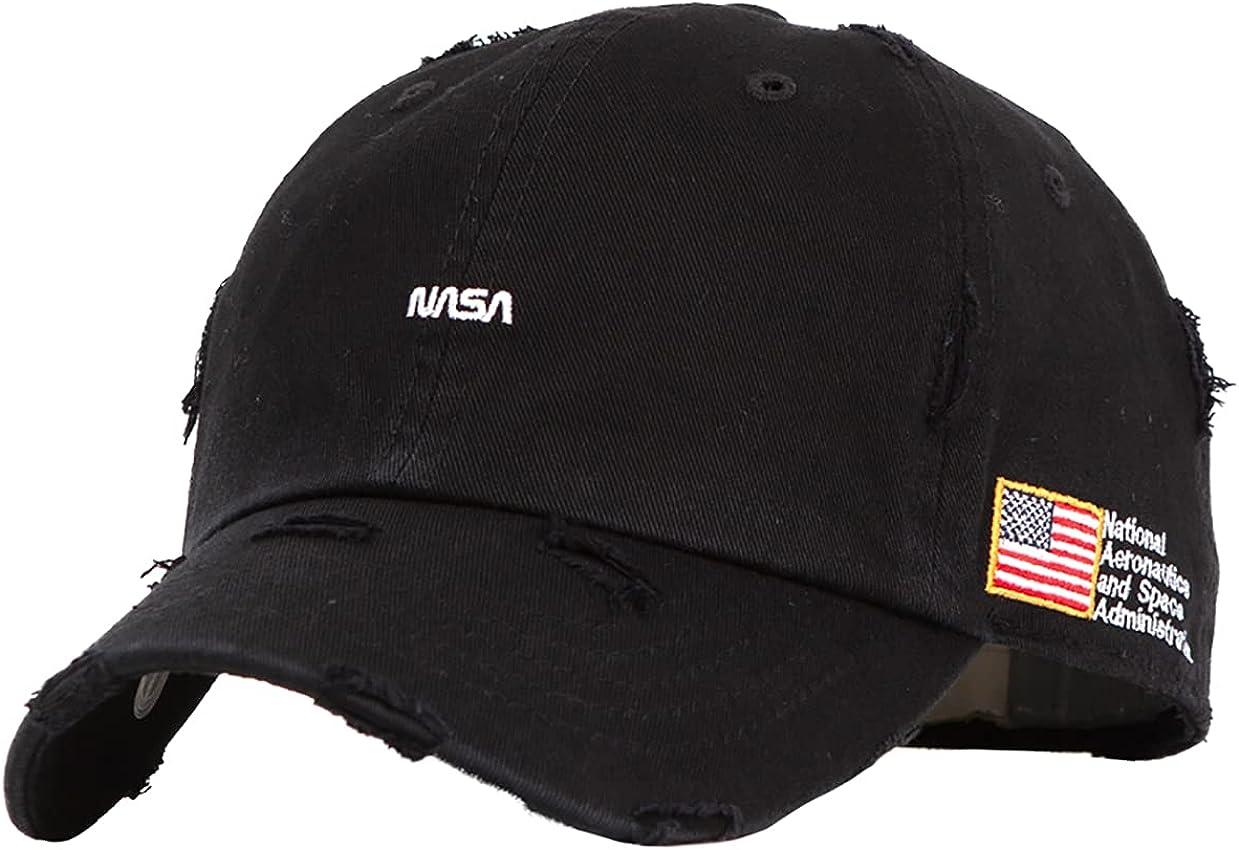 Flipper NASA Logo & American Flag Side Patch Unstructured Vintage Bullet Holes Washed Washing Distressed Baseball Cap Dad Hat