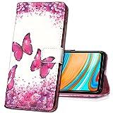 MRSTER Oppo Find X2 Neo Handytasche, Leder Schutzhülle Brieftasche Hülle Flip Hülle 3D Muster Cover Stylish PU Tasche Schutzhülle Handyhüllen für Oppo Find X2 Neo 5G. YB Red Butterfly