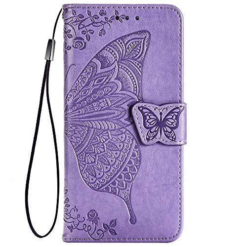 TANYO Schmetterling Flip Folio Hülle für Oppo Reno4 Pro 5G, Schutzhülle PU/TPU Leder Klapptasche Handytasche mit Kartenfächer, Handyhülle - Helles Lila