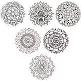 SueH Design Untersetzer aus Keramik mit Korkunterseite 6er Set, Mandala Motiven Getränkeuntersetzer für Gläser, Tassen, Becher, inklusive Metallständer, Schwarz
