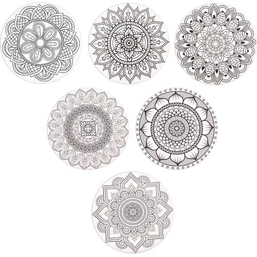 SueH Design Posavasos de Cerámica con Base de Corcho Antideslizante Absorbente 6 Piezas, Diseño Mandala para Vasos, Copas, Tazas, Incluida un Soporte de Metal(Negro)