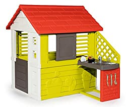 Playhouse with kitchen. Two windows with slats and a sliding window. Weatherproof and UV-resistant. Spacious interior. Product dimensions (L x W x H):145 x 110 x 127 cm.