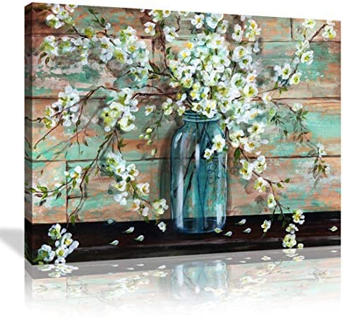 Canvas Prints Kitchen Wall Decor Beautiful Watercolor Style Blossoms in A Mason Jar Floral Print product image