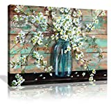wall art for kitchen - Canvas Prints Kitchen Wall Decor Beautiful Watercolor-Style Blossoms in A Mason Jar Floral Print by TRE Sorelle Studios; 1 Panel 12x16in Stretched Canvas Artwork Flower Painting for Bathroom Wall Art
