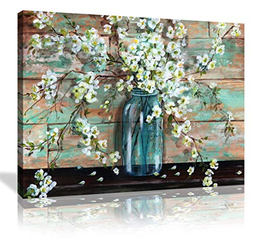 Cnvas Prints Kitchen Wall Decor Beautiful Watercolor-Style Blossoms in A Mason Jar Floral Print by TRE Sorelle Studios; 1 Panel 12x16in Stretched Canvas Artwork Flower Painting for Bathroom Wall Art
