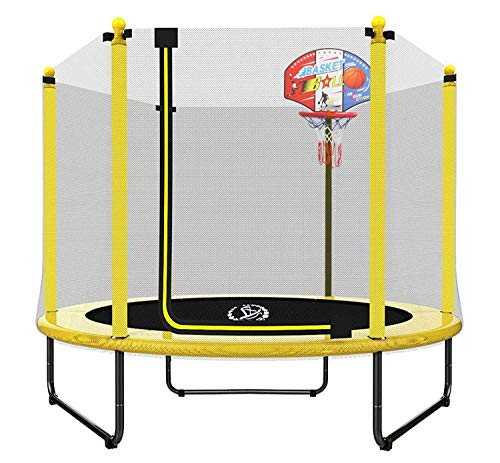 """LANGXUN 60"""" Trampoline for Kids - 5ft Outdoor & Indoor Mini Toddler Trampoline with Enclosure, Basketball Hoop, Birthday Gifts for Kids, Gifts for Boy and Girl, Baby Toddler Trampoline Toys, Age 1-8"""