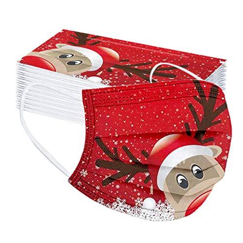 Sannysis 50STK Mundschutz mit Motiv Weihnachten Bunt MNS Mund Nasenschutz Cartoon Druck Maske Damen Herren Atmungsaktiv Mund-Tuch Bandana Halstuch Schals (C)
