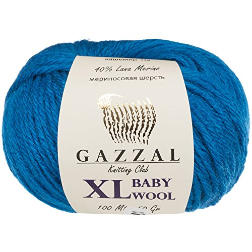 3 Pack (Ball) Gazzal Baby Wool XL Total 5.28 Oz / 328 Yrds, Each Ball 1.76 Oz (50g) / 109 Yrds (100m) Super Soft, Medium-Worsted Yarn, 40% Lana Merino 20% Cashmere Type Polyamide, Blue - 822