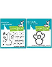 """Lawn Fawn Year Ten Happy Cactus 2""""x3"""" Clear Stamp Set and Coordinating Custom Craft Die Set (LF2236, LF2237), Bundle of 2 Items"""