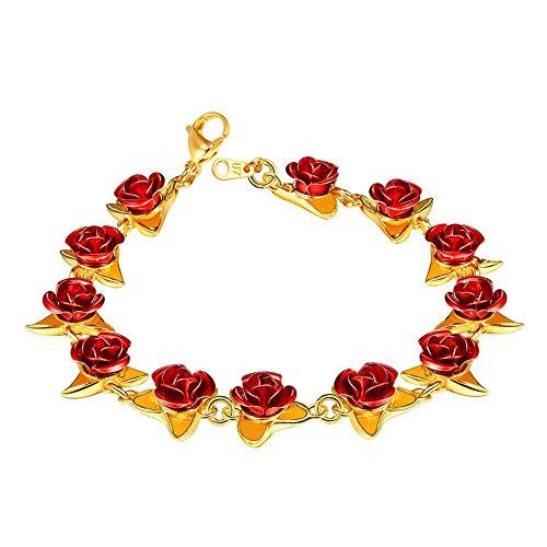 U7 Regalo de San Valentín Pulsera Mujer Bañado en Oro 18K con Flor Rosa Rojo Brazalete para Mujer con Caja de Regalo