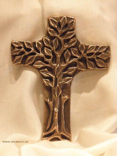 Wandkreuz, Bronze - Bronzekreuz Lebensbaum 18cm