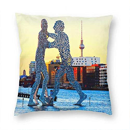 Germany Berlin Molecule Man Pillow Case Decorative Cushion Cover Pillowcase Sofa Chair Bed Car Living Room Bedroom Office 18'x 18' KXR-2223