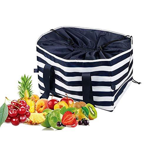 Rethyrel - Bolsa de comestibles reutilizable con aislamiento, resistente, plegable, hecha de material reciclado, para viajar de compras al aire libre