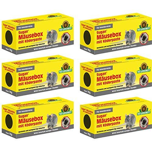 Gardopia Sparpaket: 6 x Neudorff Sugan MäuseBox mit Köder-Paste Mausefalle Anwendungsfertig + Zeckenzange mit Lupe