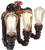 Lámpara Industrial, American Water Pipe Lámparas de Pared Vintage Industrial Hierro Pared Luz Simple Creativo Balcón Restaurante Cafe Wall Sconence,Decoración del hogar