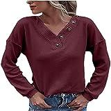 Sudadera de mujer de tamaño grande, de un solo color, con botones, blusa, camisa, suave, cómoda, cuello en V, ajustada, básica, de algodón, para otoño hasta primavera, rojo, S
