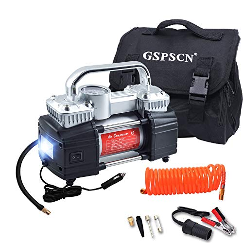 GSPSCN Silver Dual Cylinder 12V Air Compressor Pump for Car, Heavy Duty Portable Tire Inflator 150PS - http://coolthings.us