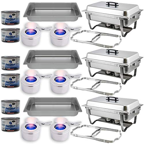 Chafing Dish Buffet Set w/Fuel — Folding Frame + Water Pan + Food Pan (8 qt) + 6 Fuel Holders + 6 Fuel Cans – 3 Full Warmer Kit, Stainless Steel Construction