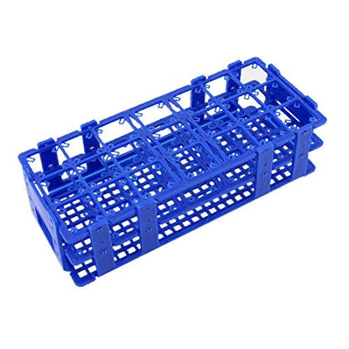 TOOGOO sostenedor del estante de tubos de centrifuga de 50 ml de plastico de cajas de 21 agujeros azul