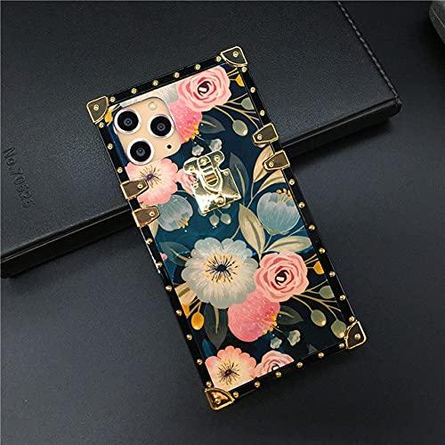 KESHOUJI Estuche Cuadrado de Lujo con Purpurina para iPhone 12 11 Pro MAX Funda con Soporte Fundas para teléfono con Flores para iPhone X XS MAX XR 7 8 Plus