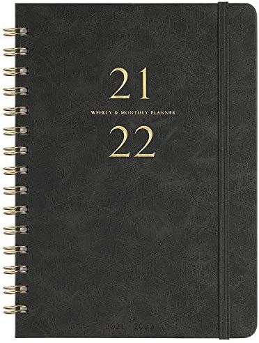 """2021-2022 Planner - Weekly & Monthly Planner with Monthly Tabs, 6.3"""" x 8.4"""", Smooth Faux Leather & Flexible Cover with White Paper, Wirebound, Gray"""